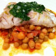 Pan Fried Snapper w/ Thyme, Chilli, Caper Chickpeas