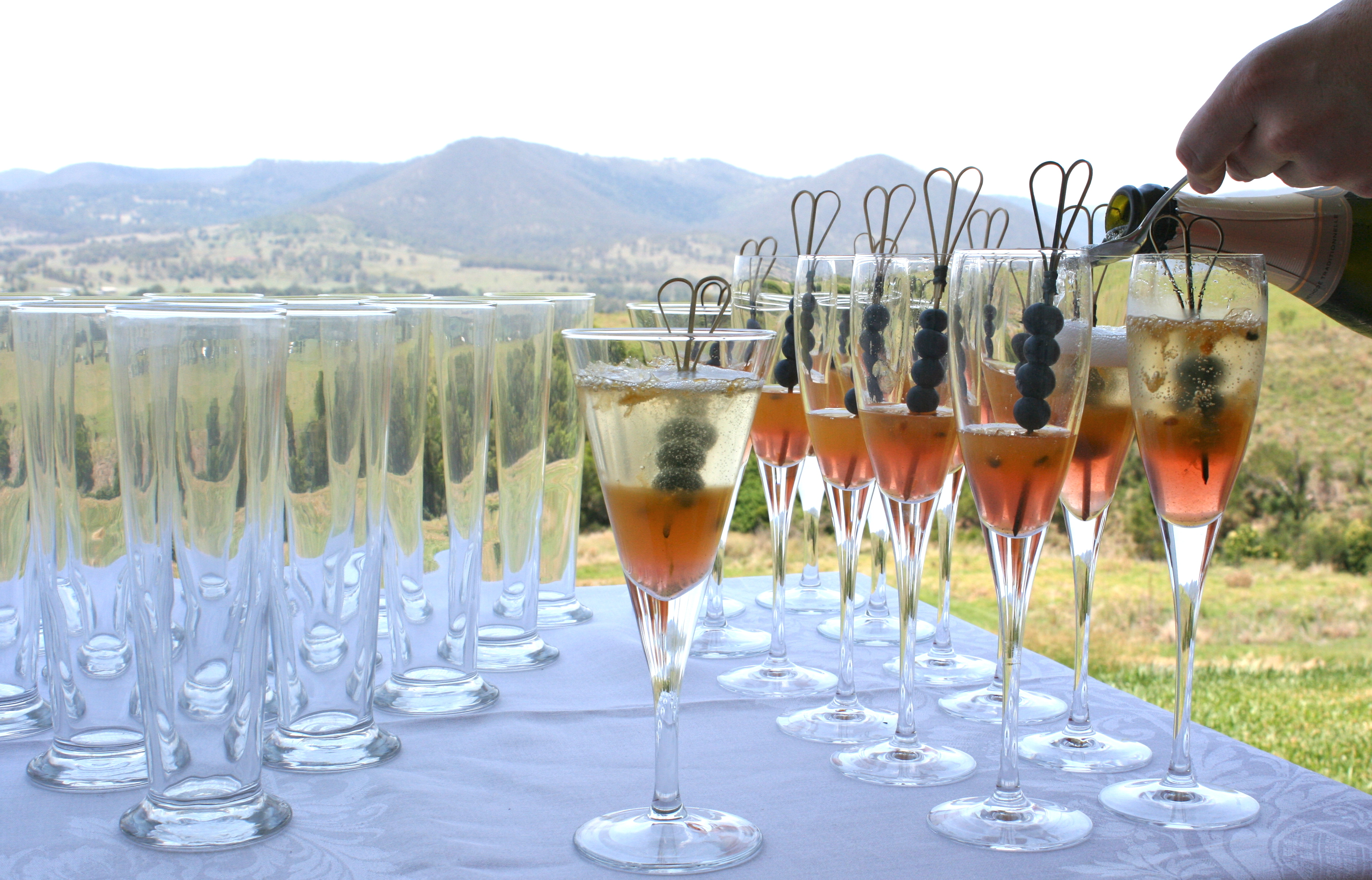 Champagne cocktails overlooking Killarney