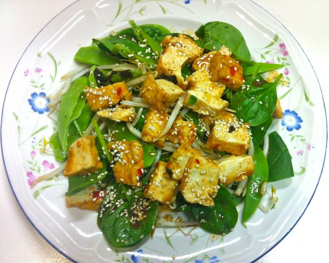 Grilled Tofu Salad With Miso Dressing Recipe — Dishmaps