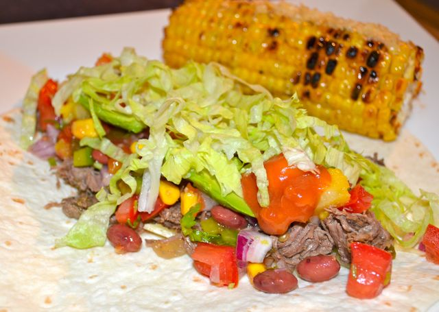 Mexican shredded beef tortilla