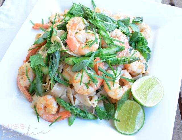 Prawn Asparagus Pasta Nuac Cham Dressing - Miss Foodie4