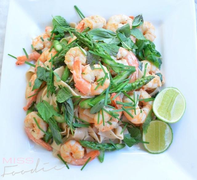 Prawn Asparagus Pasta Nuac Cham Dressing - Miss Foodie5