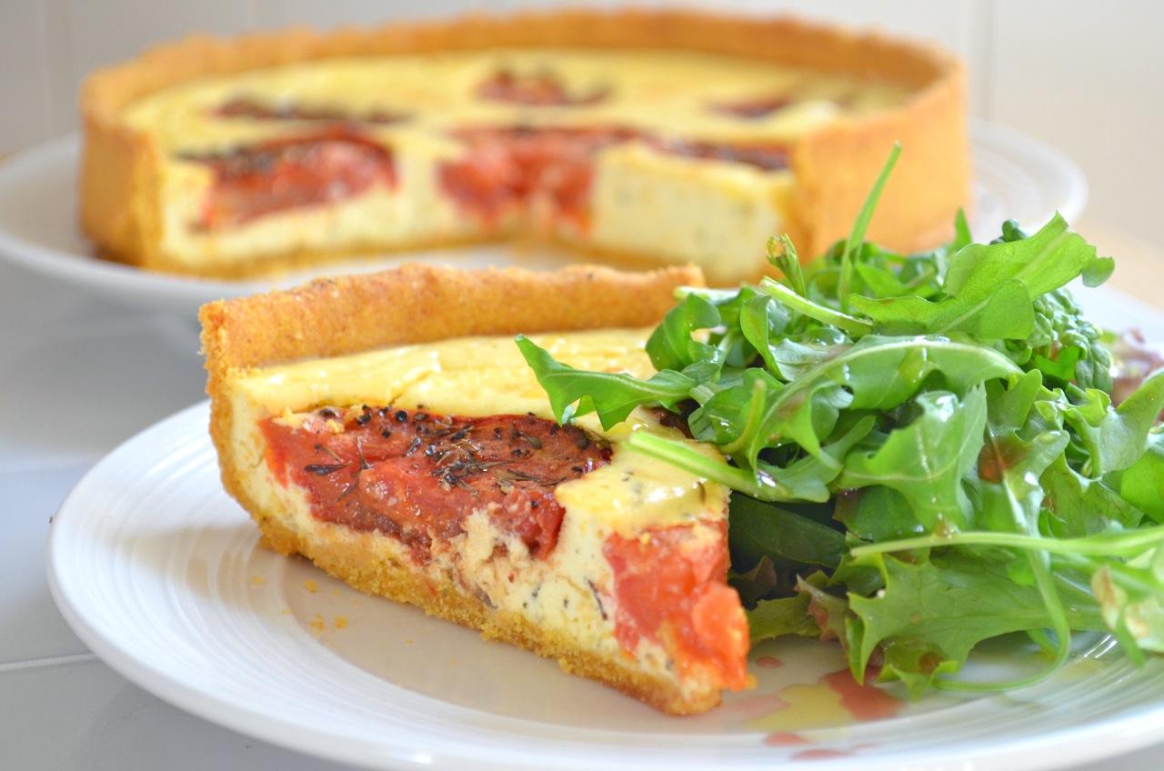 Polenta Crust Tomato Tart - MissFoodie