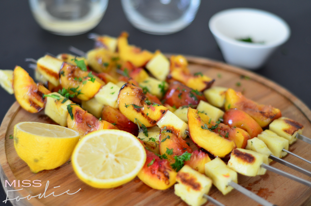 Grilled Halloumi and Nectarine Kebabs w Honey - Miss Foodie-5