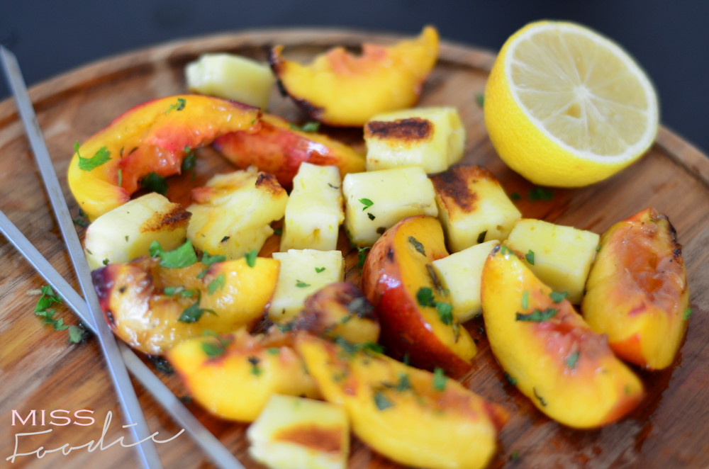Grilled Halloumi and Nectarine Kebabs w Honey - Miss Foodie-8