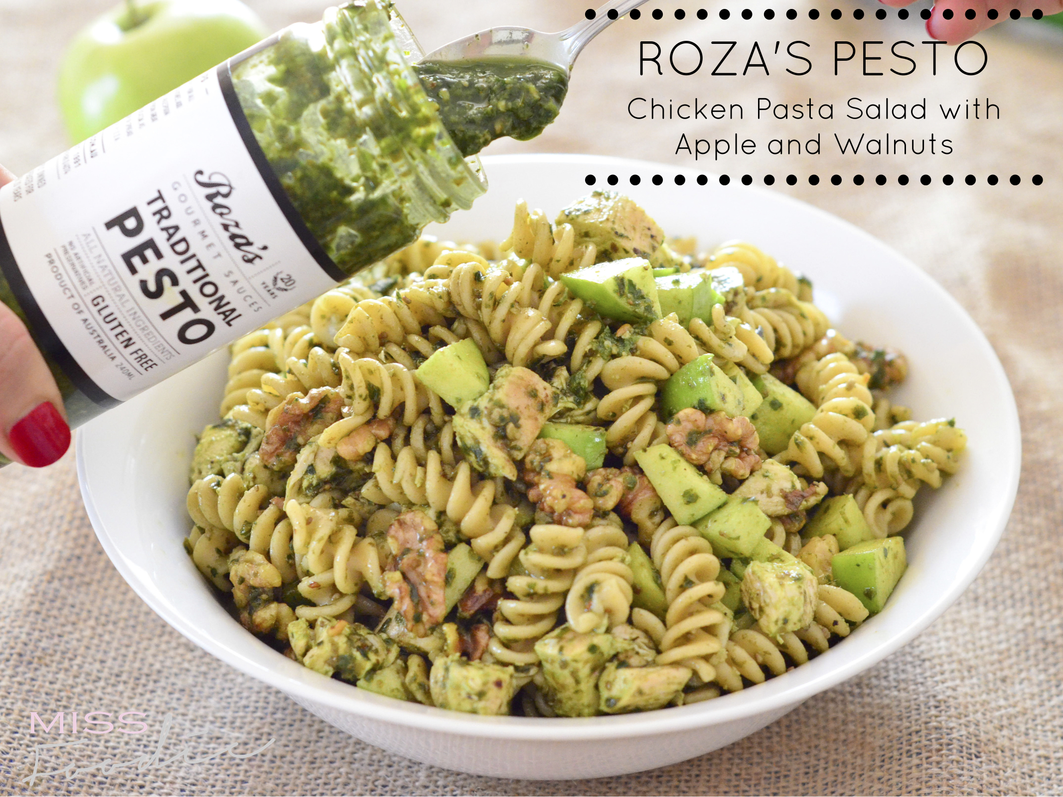 Rozas Pesto Chicken Pasta Salad w Apple and Walnuts - Miss Foodie