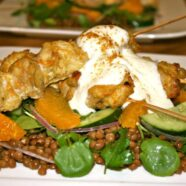 Cumin-spiced Chicken Skewers w Orange and Lentil Salad