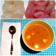 Asian Pumpkin Soup w Seafood