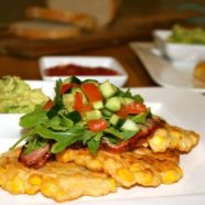 Corn Fritters w bacon, avocado & tomato salsa