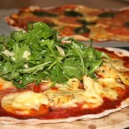 Ham, Artichoke Pizza topped w Rocket and Parmasen Salad
