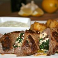 Stuffed Lamb Loin with Lemon Potatoes and Tzatziki